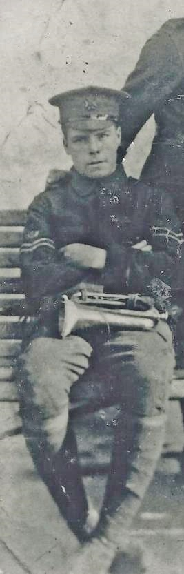George Brooks, Student in UK,  with Bugle