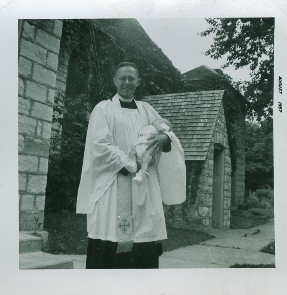 Rev. Richard Fleming on the occasion of the Baptism of Katherine McCoy, Aug. 1957