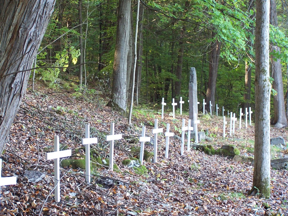 """wooden crosses placed on the """"suspected"""" grave sites during a special ontario heritage """"open Doors"""" event, 2005."""