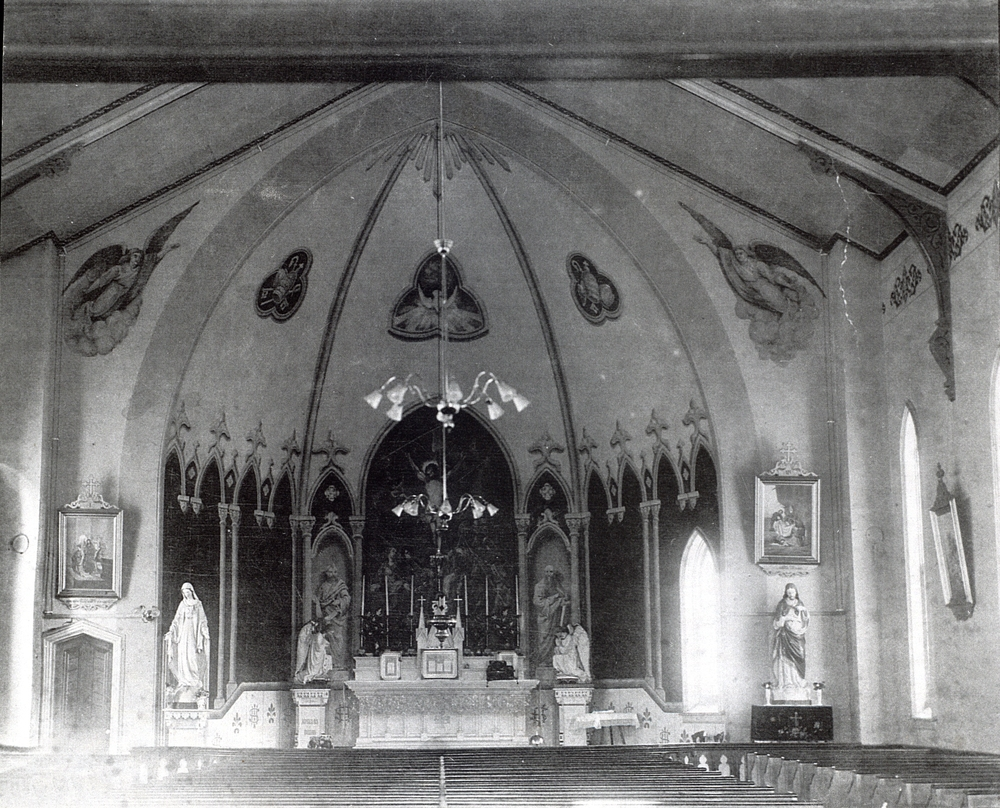 Interior of Brick church built in 1875