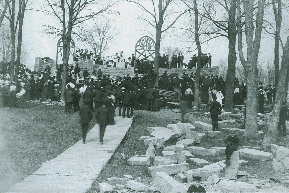 1904 Blessing of the Cornerstone - Archbishop Gauthier,   Also present: Rev. Thomas Murtagh, Marmora Parish Priest; Rev. Peter McGuire, Hastings; Rev. Whibbs, Campbellford; Rev. John Meagher, Madoc; Rev. P. McKiernan, Frankford and Rev. Fitzpatrick, Ennismore.