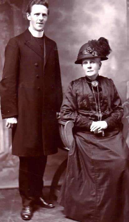 Rev. Farrell (Parish Priest of Sacred Heart, Marmora,) & his mother) taken in Ireland