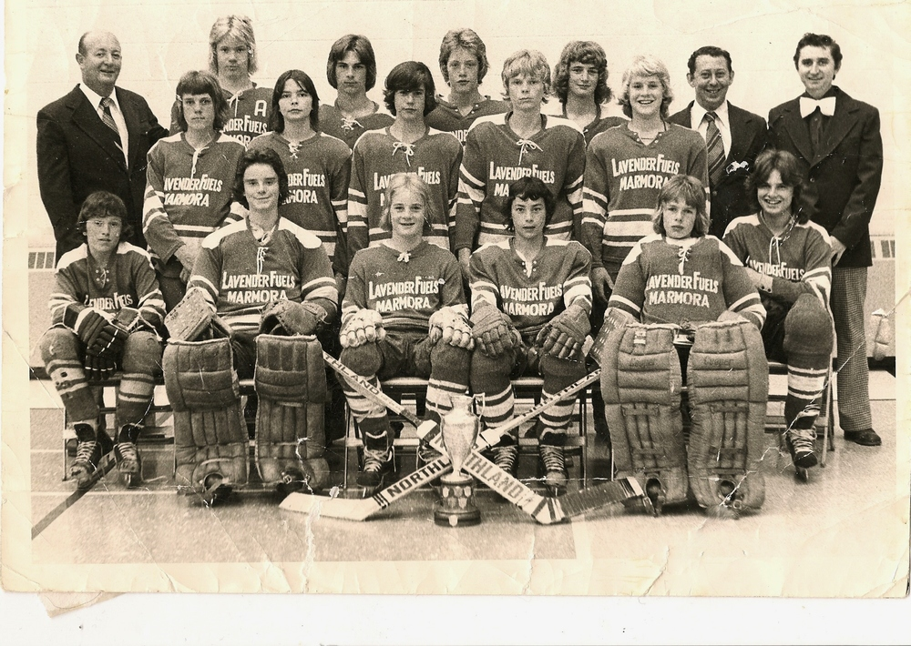 Back row:                     (L-R) Tom Hanley, Mark Hanley Kelly Welch, Justin Hanley, Greg Terrion,  Bob Bartch,  Wilfred Terrion  Middle Row:                   (L-R): Andy Johnson, Jamie Lajoie, Paul Bicknell, Gord Wisti, Jamie Mantle, Tim Black (seated) Front Row:                     (L-R): Pooie Doyle(seated), Dave Lunau, Terry Terrion, Rick Nesseth, Rick Lynch