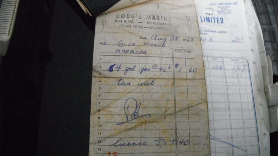 Gas receipt when Doug Vilneff operated the gas bar on Crowe River.
