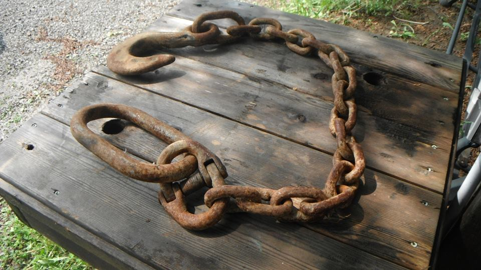 Chain off logging boom,  found in Crowe Lake