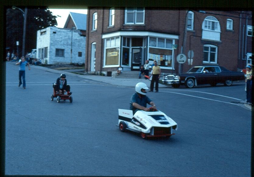Ted Bonter [councilor] with a Polaris race cart ,Winning against Grant Airhart [reeve].jpg