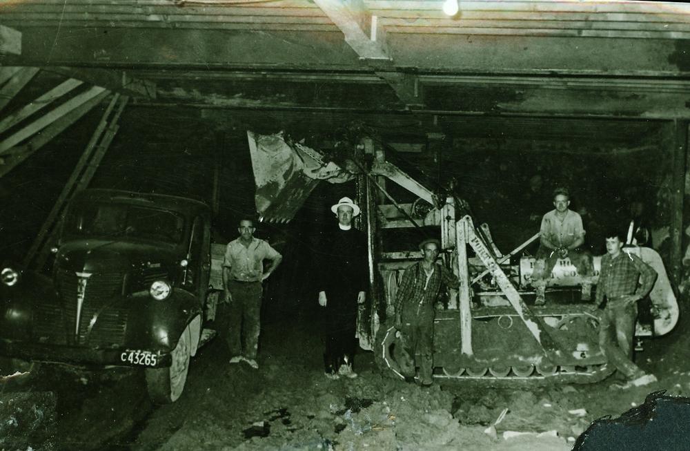Digging Roman Catholic Church, 1950, Red Logan, Father O'Neill, Char. Clemens Sr., Arnie Vesterfelt,