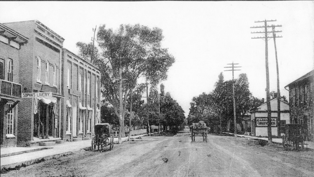 Forsyth Street looking south.  On the right is the Langdon Butcher shop,  with what is now  the #7 higheway passing in front of it,  over the wooden sidewalks.  The butcher shop was replaced by the Memorial building in 1928.
