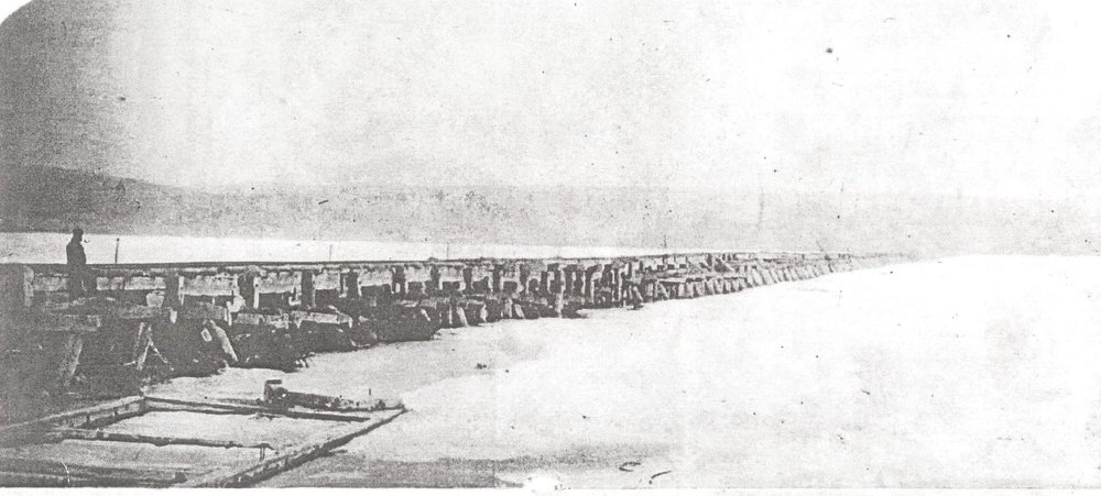 Trestle bridge for railway over Rice Lake from Harwood built in 1852 by the cobourg peterborough railway co. to run from cobourg to harwood and on to hiawatha and peterborough, via tick island.  By 1860 it had disintegrated.