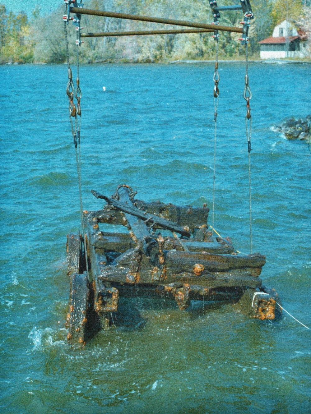 Ore Car raised from the Trent River by Parks Canada with the help of diver Brian McCrodan who hitched the chains underwater. (Photo by dick kane)