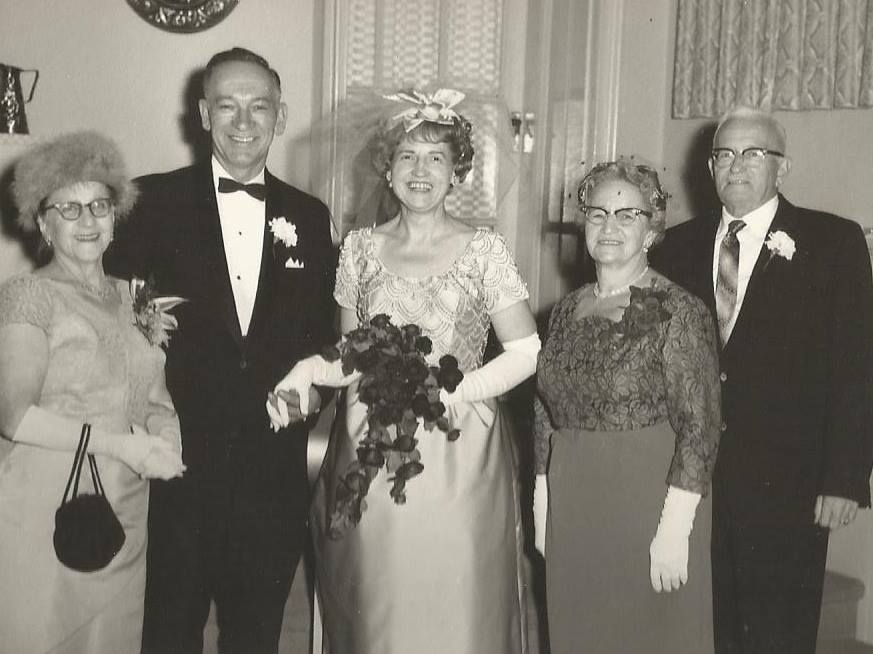Bill Fox and Flora Sanderson Wedding Dec. 1963. L-R Margaretta Fox, Bill Fox, Flora Sanderson. The Fox Family Had a cottage on Crow Lake.