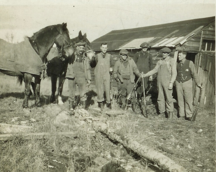 Milo VanVolkenburg's  Hunting Camp, John VanVolkenburg  Sr is  2nd from right