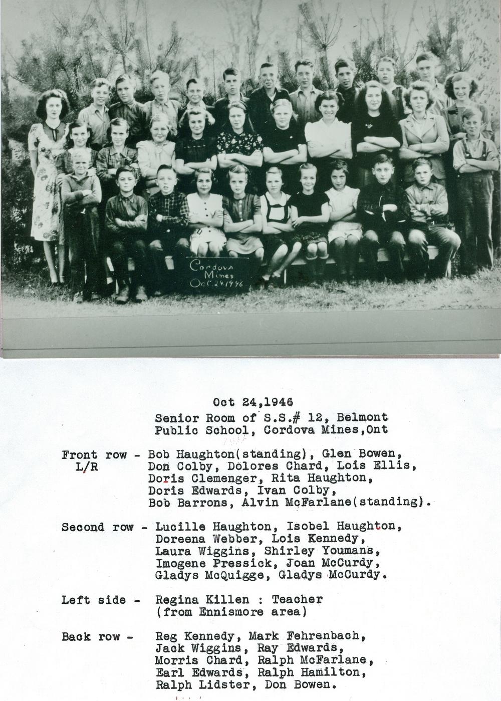 S.S. 12 Belmont Public School, Cordova Mines 1946.jpg