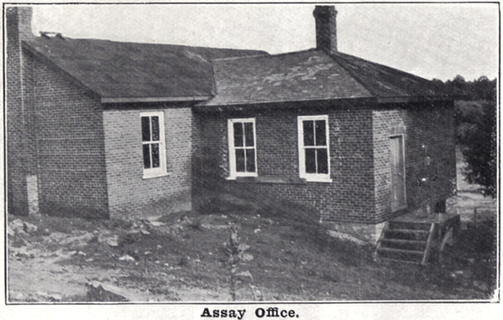 The assay office consisted of a brick building in two parts 20 x 38 feet.  The larger part contained a sample grinding room and the other part consisted of a laboratory,  office and balance room.