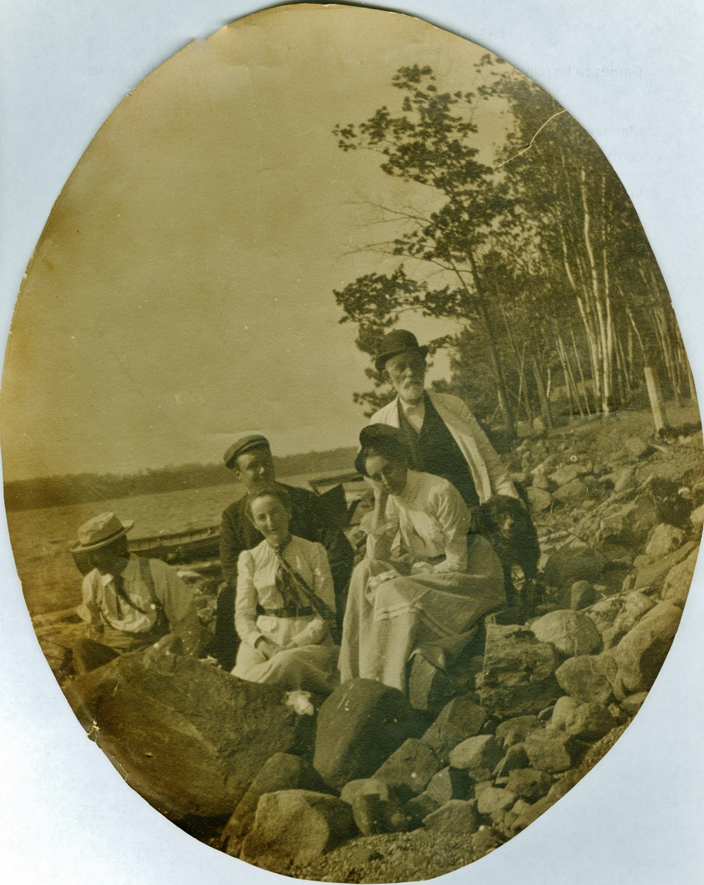 Marble Point Road shoreline,  Crowe Lake, probably in front of Ross cottage. Possibly Fidlar family group.