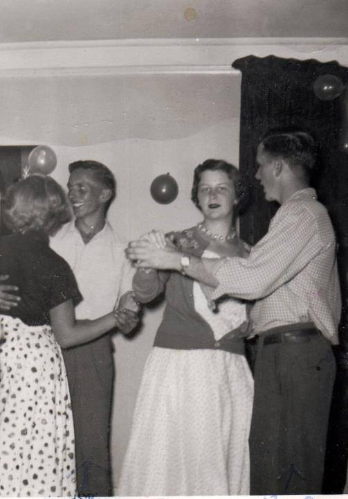 Don & Bob McKinnon dancing at a party at McKinnons' at Crowe Lake - 1955
