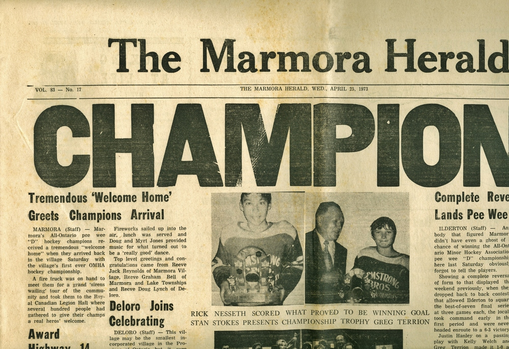 Marmora Herald April 1973, Minor Hockey Pee Wee D Champions.jpg