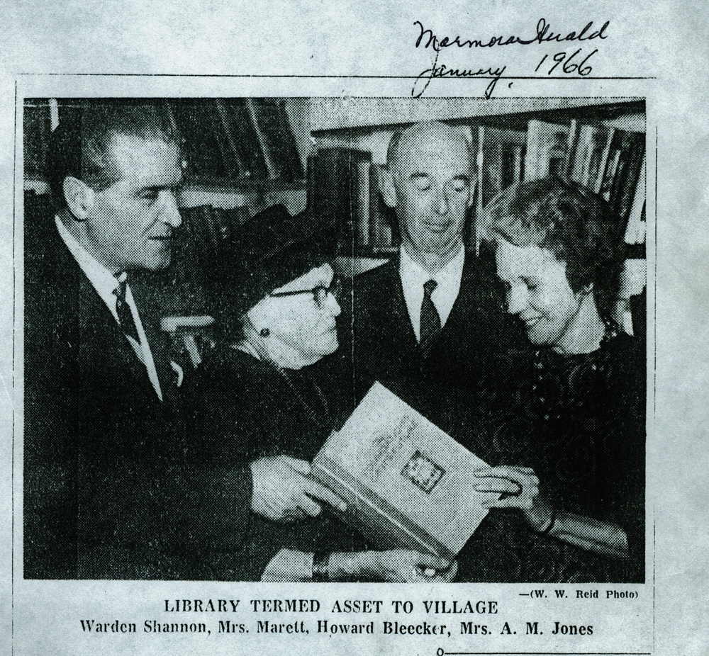 Opening of Library Jan. 1966 with Warden Wm Shannon,  Mrs. Marett,  Howar Bleecker and Helen Gaffney Jones.jpg