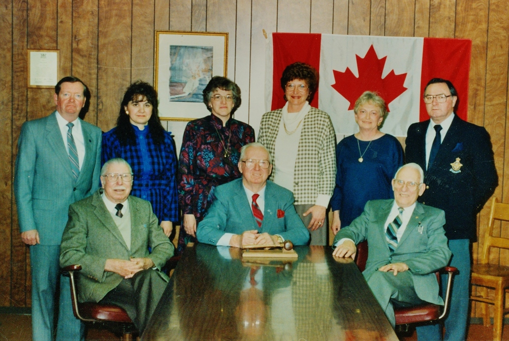 A picture of the group from Deloro, Marmora Village, Marmora and Lake Twp. and Twp. of Rawdon that built and initially managed the Dr. Parkin Living Centre.  JOHN MURPHY,  CAROL CHURCH,  BERNICE  MCKEOWN ,  BRENDA PERRAULT (RAWDON))  ELEANOR BICKNELL,  JOHN INGLIS,  JACK GRANT,  JOHN WILKES,  JOHN LEA