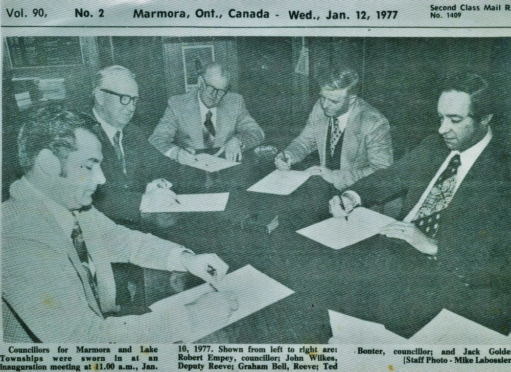 Township Council 1977  Robert Empey, John Wilkes, Graham Bell,  Ted Bonter, Jack Golden