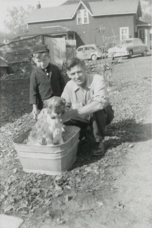 1953, John VanVolkenburg with Jim Nickle and Laddie at 11 Main St.