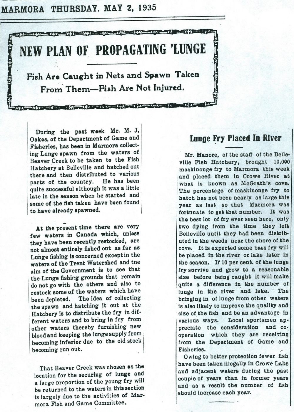 1935 Crowe River fish Muskie propagation.jpg