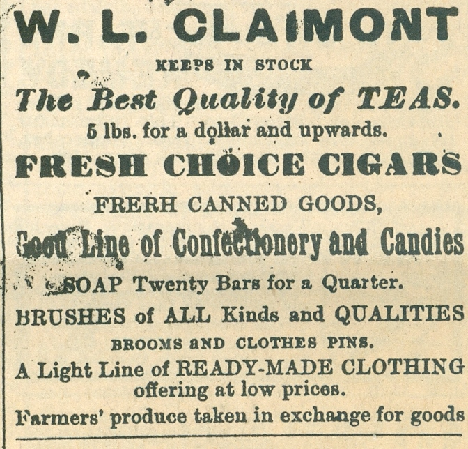 W.L. Claimont - General store, (Clairmont).jpg