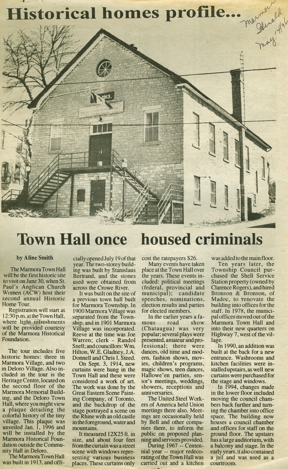 Marmora Town Hall article 1996.jpg