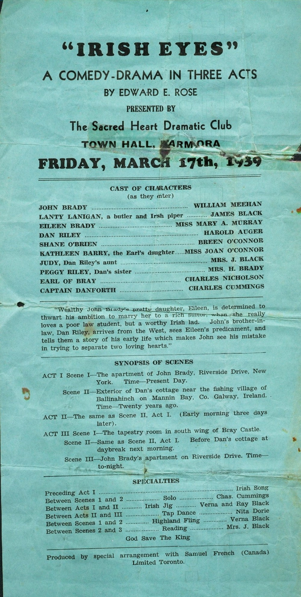 Events - Irish Eyes - Play at Town Hall,  1939