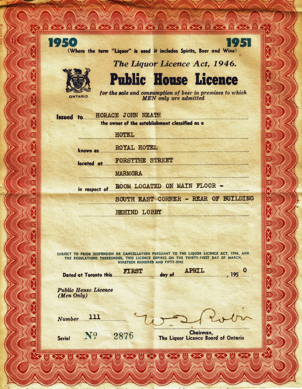 Photo of Licence sent to us by grandson,  Russell Foster