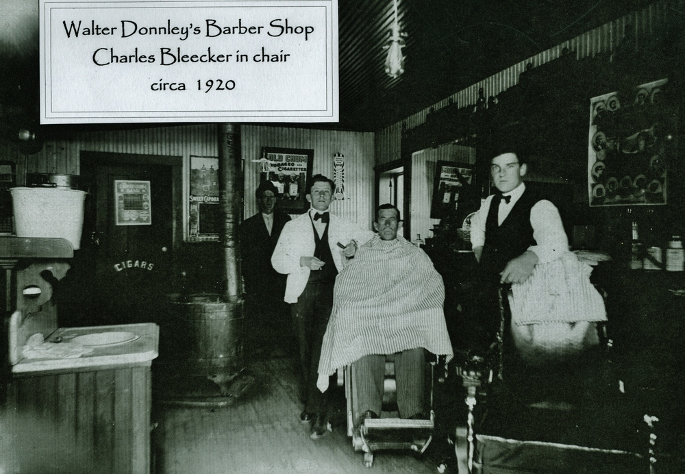 Walter Donnley's Barber Sbop,  Charles Bleecker in chair c. 1920