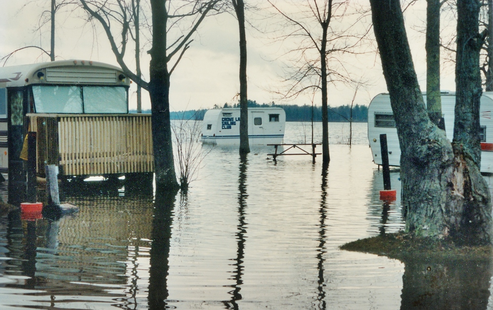 Booster Park Flood mid '80s,  with Sailing  School Trailer in Centre