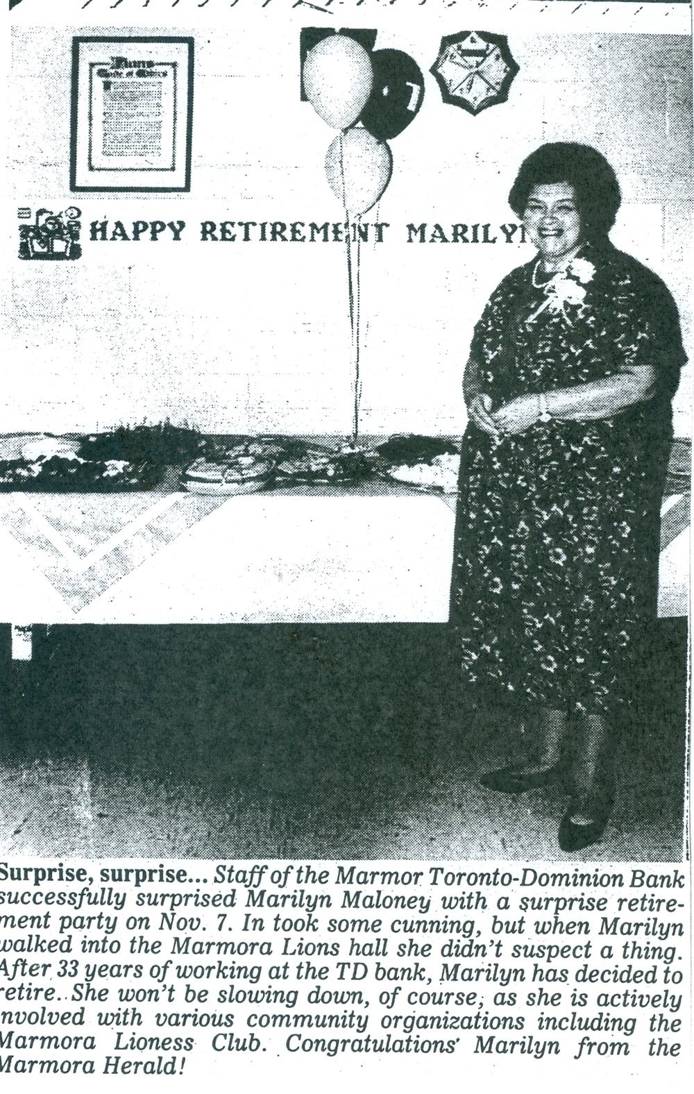 Nov. 1992 Marilyn Maloney retires