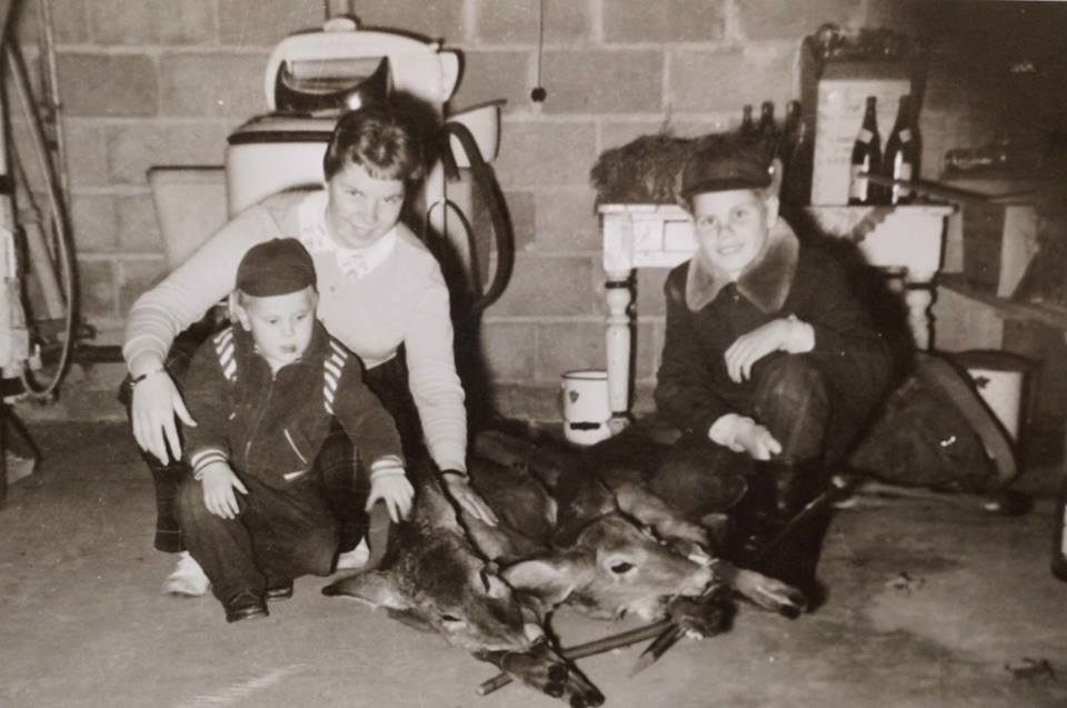 I became an advocate for the deer in my teens but this photo was taken after one of my fathers hunting trips. Pictured are Carol Wilson and myself at our house on Mathew Street in Marmora. I don't know who the little guy is? Circa 1960