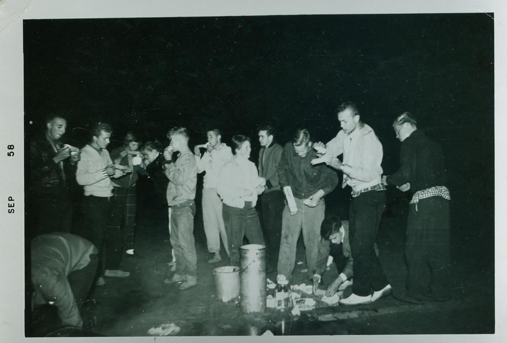 1958 Crowe lake, Bob Prentice, Frank Marett, Brian Valcamp, Jne Borland, Nobes, Brian MacKenzie, Dave Valcamp