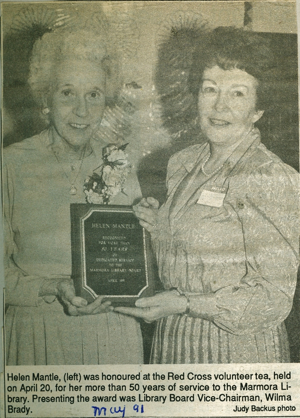 Red Cross Helen Mantle award 1991.jpg