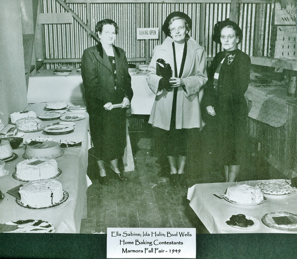 Marmora Fair 1949 Home Baking,  Ella Sabine,  Ida Hulin,  Bud Wells.jpg