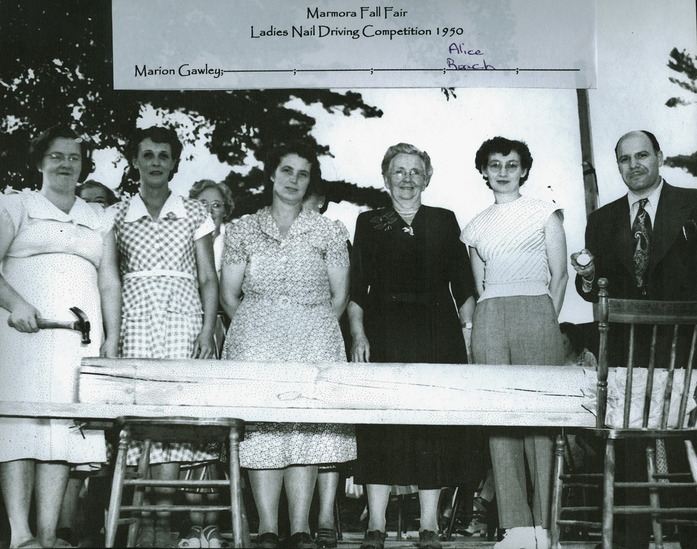 Marmora Fair 1950 Ladies Nail Driving, Marion Gawley,  Alice Roach.jpg