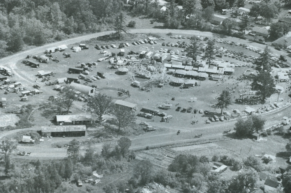 1989 aerial photography of fair grounds, Marmora