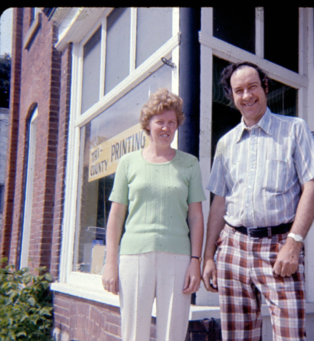 1977,  Jack Golden,  Sheila Goldenat theMarmora Herald, located at the corner of Madoc & McGill Streets