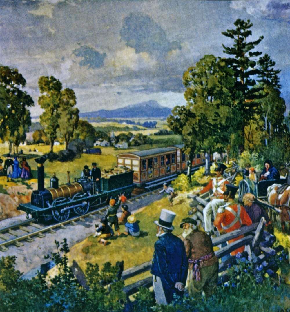 Artist J.D. Kelly's painting of first railway