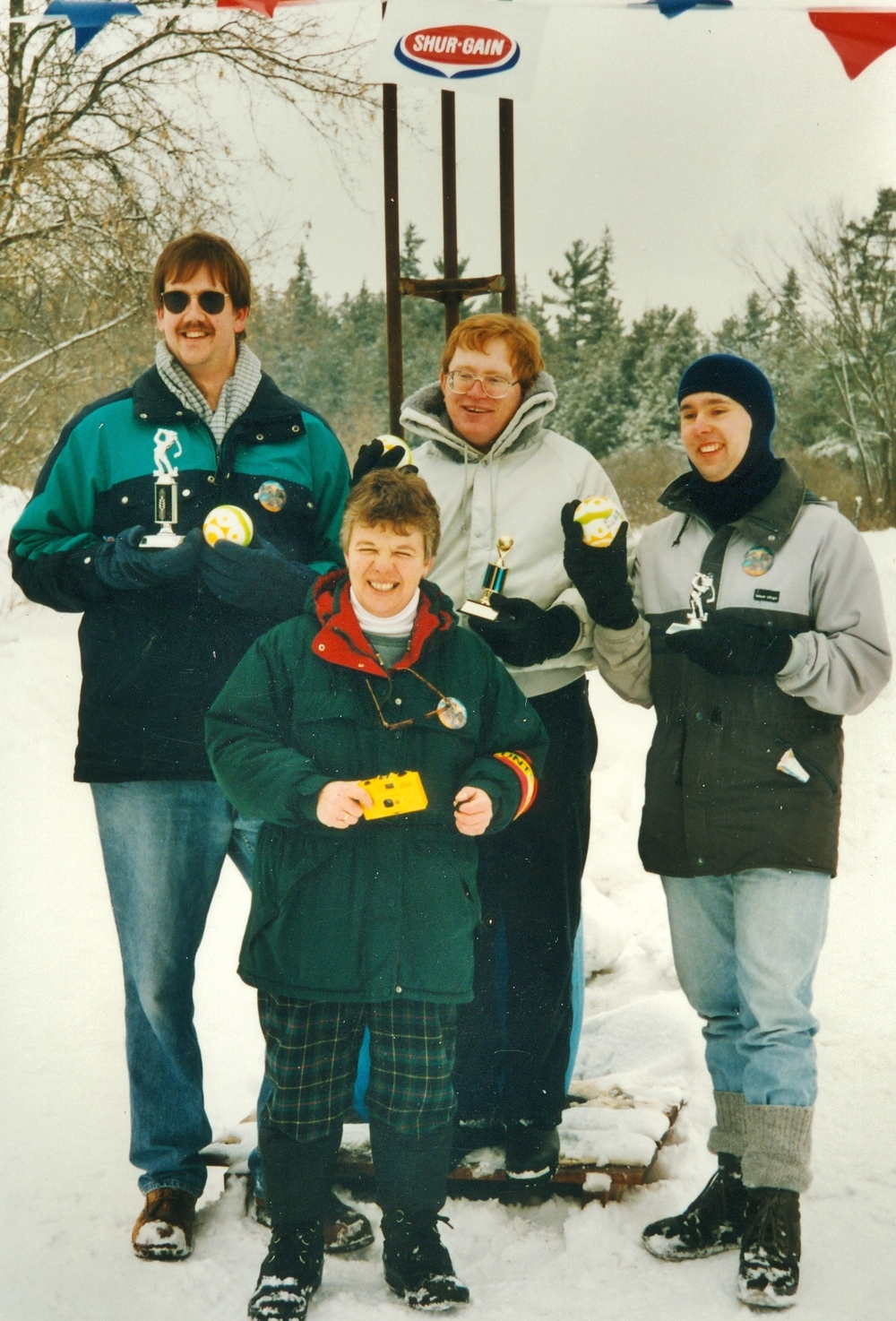 Cathie Jones with winners of the Sno-golf