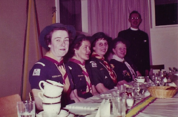 1964 Feb, Banquet, Doris VanVolkenburg,Lucile Bedore,Audrey Nickle,Pearl IrishRev.McLeod