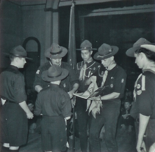 1965, Oct, Scout Investiture,Ernie Harvey,Brian Goodchild,Wayne VanVolkenburg - Copy