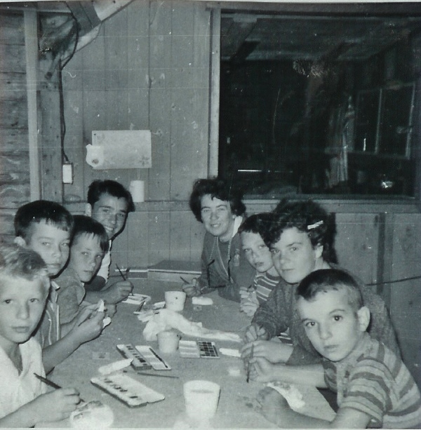 Aug. 1965 camp crafts.  Ken Horton back left