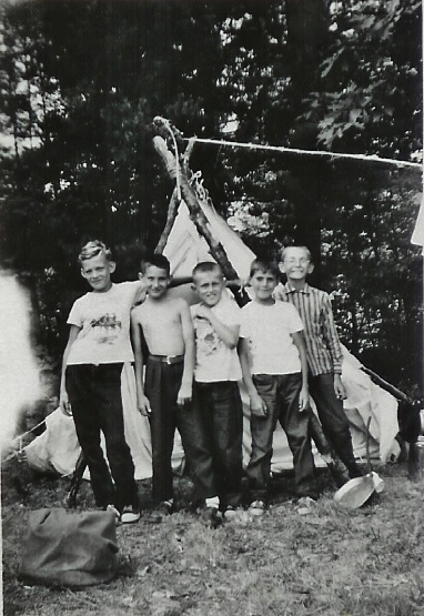 1958 Camp at Glen Allen Park, Wayne VanVolkenburg __,Paul Belanger, John Bedore,Peter Nooman