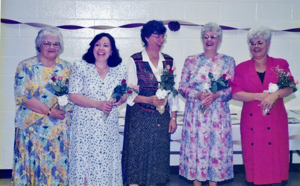 Lioness Club 1995 Receiving 15 year pin Marily Maloney, Mary Jane Goodchild, Audrey Bateman, Irene Clemens, Jean McKenzie.jpg