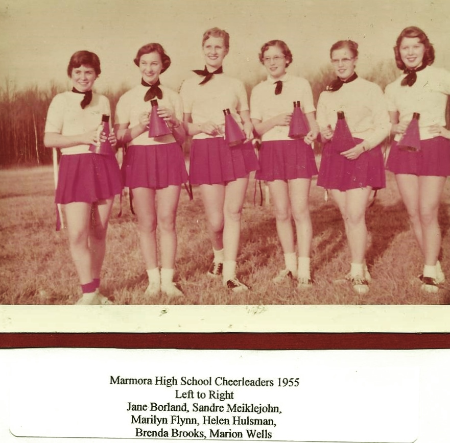 Marmora High School Cheerleaders, 1955.jpg
