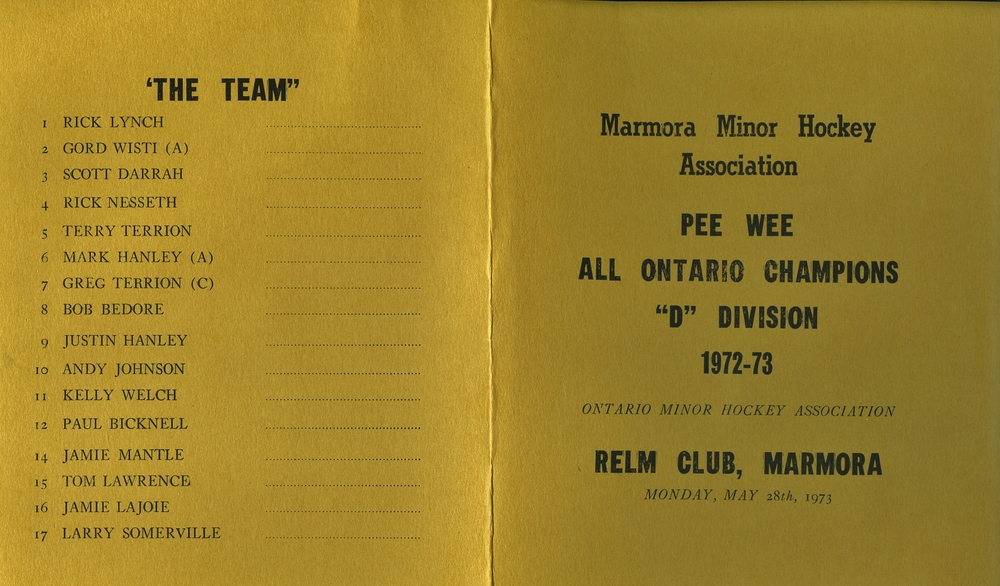 Minor Hockey, Pee Wee Al Ontario Champions 1972-73.jpg