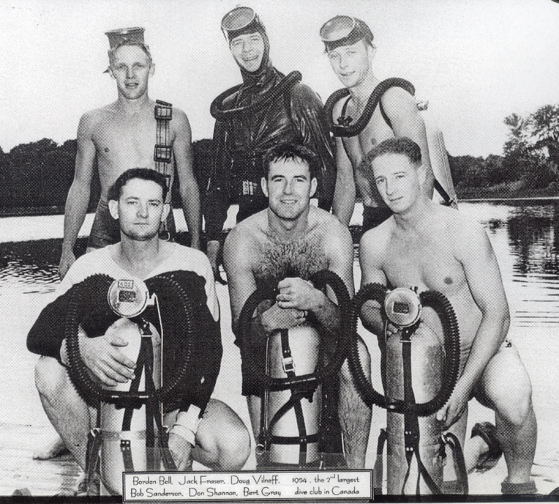 1954 Divers Borden Bell, Jack Fraser, Doug Vilneff, Bob Sanderson, Don Shannon, Bert Gray (800x722)
